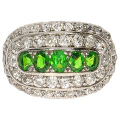 Demantoid and Diamond Platinum Yellow Gold Ring, circa 1900