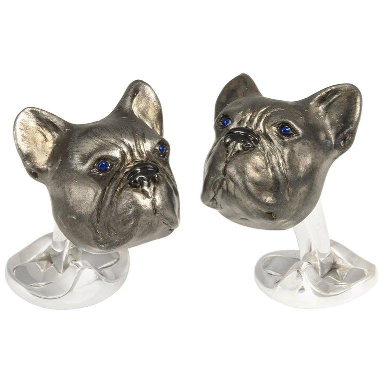 Deakin & Francis Sterling Silver Oxidised French Bulldog Cufflinks