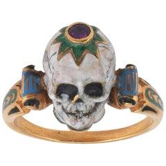 A.Codognato Small Enamel Ruby Gold Skull Memento Mori Ring
