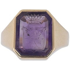 19th Century Gold Amethyst Seal Signet Ring