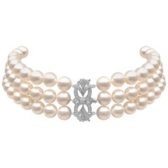 Yoko London Pearl Choker with Art Deco Style Diamond Set 18 Karat Gold Clasp