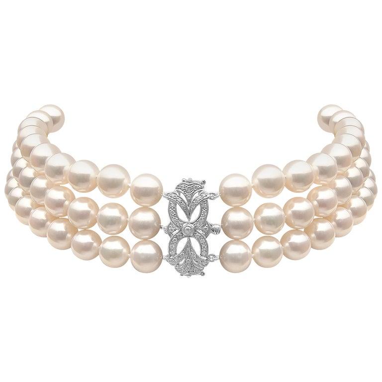 Yoko London Pearl Choker with Art Deco Style Diamond Set 18 Karat Gold Clasp