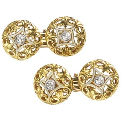 French, Art Nouveau Gold and Diamond Cufflinks