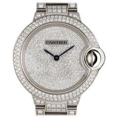 Cartier Ladies White Gold Fully Loaded Diamond Ballon Bleu Automatic Wristwatch
