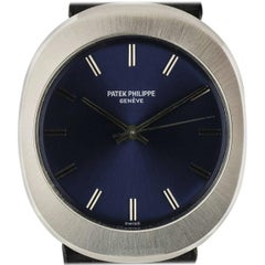 Patek Philippe Stainless Steel Blue Dial Oval Case Automatic Wristwatch Ref 3580