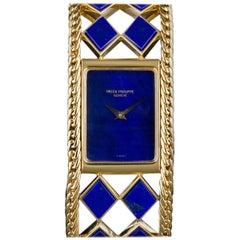 Patek Philippe Ladies Yellow Gold Lapis Lazuli Manual Wristwatch Ref 4241