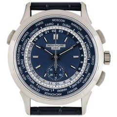 Patek Philippe White Gold Blue Opaline Dial World Time Chronograph Wristwatch