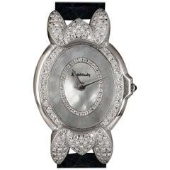Kutchinsky Ladies White Gold Diamond Mother-of-Pearl Ovaline Quartz Wristwatch