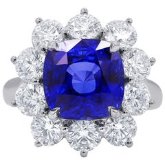 Certified 7.10 Carat Ceylon Sapphire and Diamond Ring
