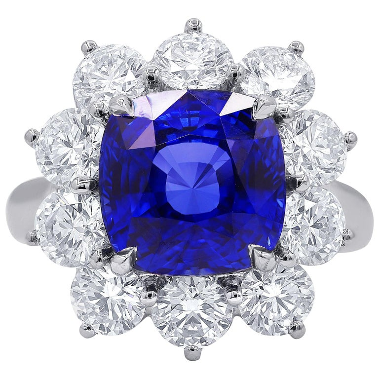 Certified 7.10 Carat Ceylon Sapphire and Diamond Ring For Sale