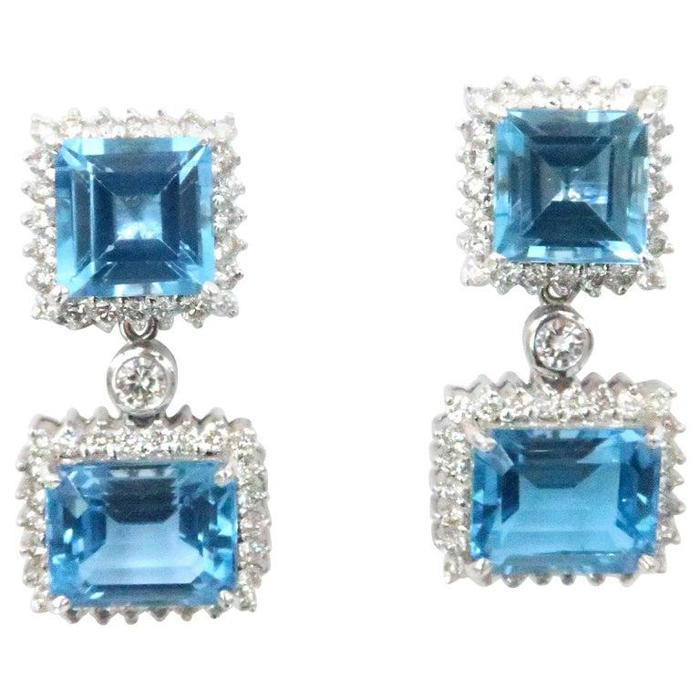 Boon Detachable Swiss Blue Topaz Square Rectangular Diamond Stud Dangle Earrings For