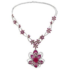 One of a Kind Rubellite, Sapphire and Diamond Necklace