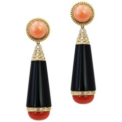 18 Carat Yellow Gold Coral and Onyx Drop Earrings