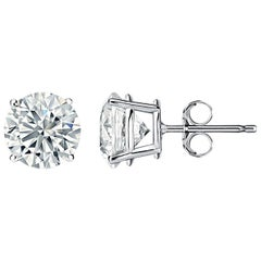 Certified 4.01 Carat Total Weight Diamond Stud Earrings