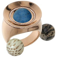 Certified Ring Pink Gold with Diamonds and a set of Three Interchangeable Gems