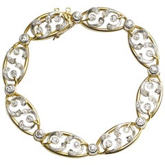 French Art Nouveau Diamond and Gold Mistletoe Bracelet