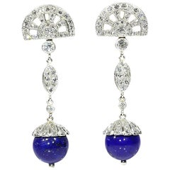 Fine 3 Carat Diamond and Lapis Lazuli Platinum Dangle Earrings