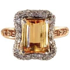 Diamonds Yellow Topazes Gold and Silver Cluster Ring