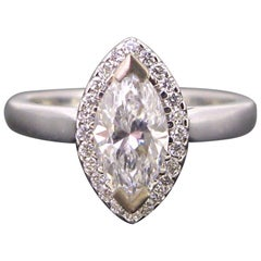 Marquise Certified Diamond Cluster Engagement Wedding Band Ring
