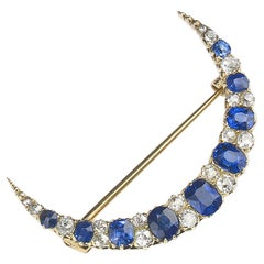 Sapphire and Diamond Crescent Brooch