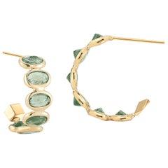 18 Karat Yellow Gold Green Sapphire 3.70 Carat Hoop Earrings, Petite