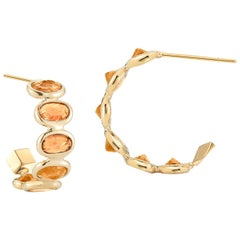 18 Karat Yellow Gold Orange Sapphire 3.70 Carat Hoop Earrings, Petite