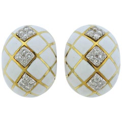 David Webb Diamond White Enamel Gold Platinum Earrings