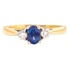 1950s Diamond and Blue Sapphire 18 Karat Two-Tone Gold Ring