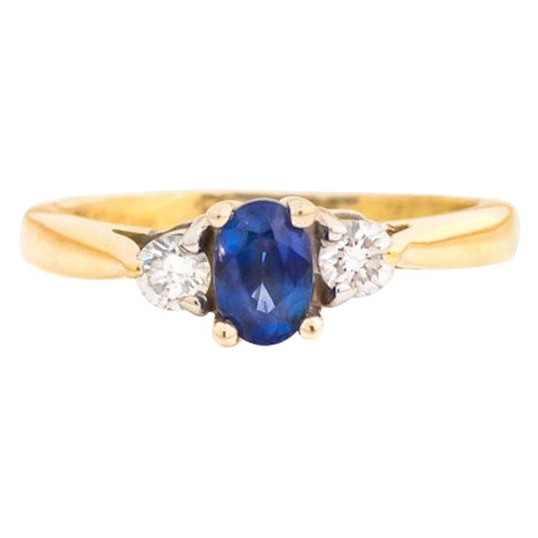 1950s Diamond and Blue Sapphire 18 Karat Two-Tone Gold Ring