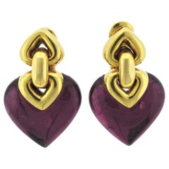 Bulgari Doppio Pink Tourmaline Gold Earrings