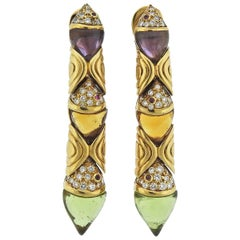 Bulgari Diamond Peridot Amethyst Citrine Gold Earrings