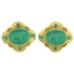 Elizabeth Locke Venetian Glass Intaglio Chrysoprase Gold Earrings