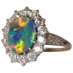Black Opal and Diamond Platinum Ring