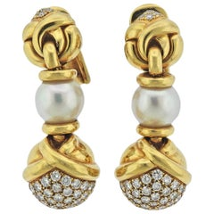 Bulgari Diamond Pearl Gold Drop Earrings