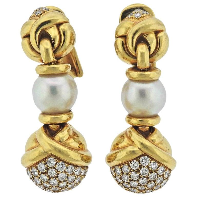 Bulgari Diamond Pearl Gold Drop Earrings