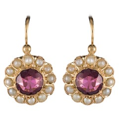 19th Century Garnet Natural Pearl Sleepers Earrings