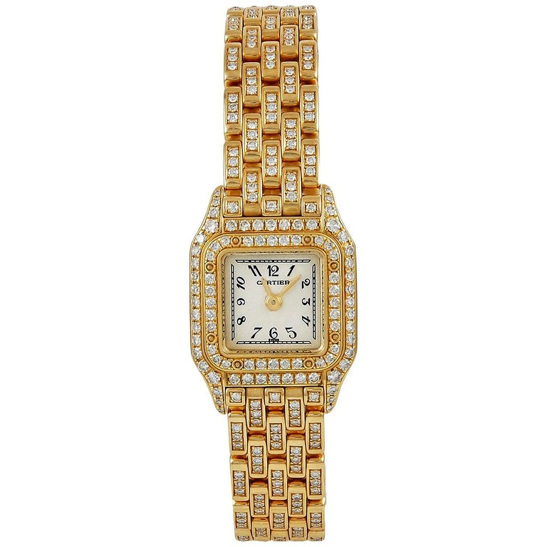 Cartier Ladies yellow gold Diamond Mini Panthere Quartz Wristwatch For Sale