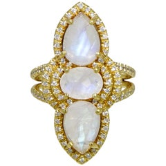 Pear and Oval Shaped Moonstone and Diamond Ring