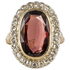 19th Century French 4.50 Carat Garnet Rose Cut Diamonds Antique Ring
