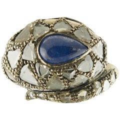 Diamonds Tanzanite Rose Gold and Silver Snake Fashion Ring