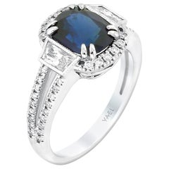 Cushion-Cut Blue Sapphire Diamond and White Gold Ring