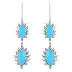 Meghna Jewels Claw Double Drop Earrings Turquoise Diamonds