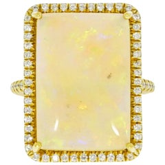 Rectangular Opal and Diamond Yellow Gold Ring