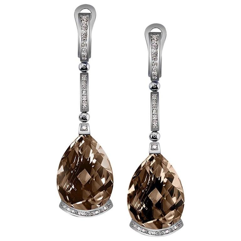 Alex Soldier Smoky Quartz Diamond White Gold Swan Drop Earrings One of a Kind