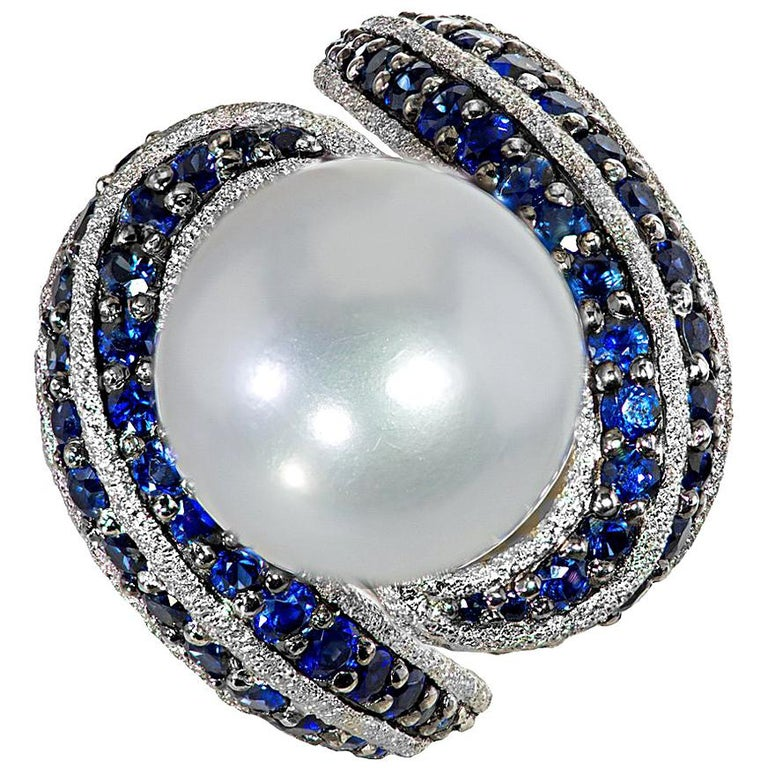 Alex Soldier Sapphire Pearl Gold Textured Ring One of a Kind