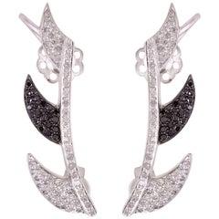 Claw Ear Cuff in Black and White Diamonds