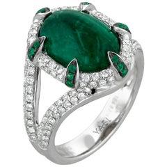 Emerald Diamond Black Rhodium and White Gold Ring