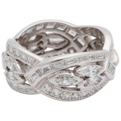 1940s Wide Marquis Cut Baguette Cut and Round Cut Diamond Platinum Eternity Band
