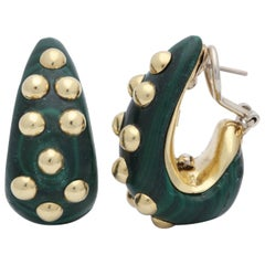 1980s Half Hoop Custom Cut Malachite with Gold Pellets Clip on Earrings