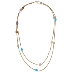 1960s Extra Long Box Link with Semi Precious Stones Gold Link Chain Necklace